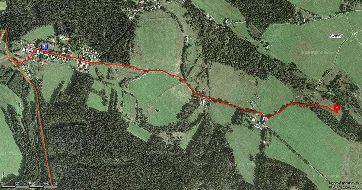 Mapka s cestou na tábor